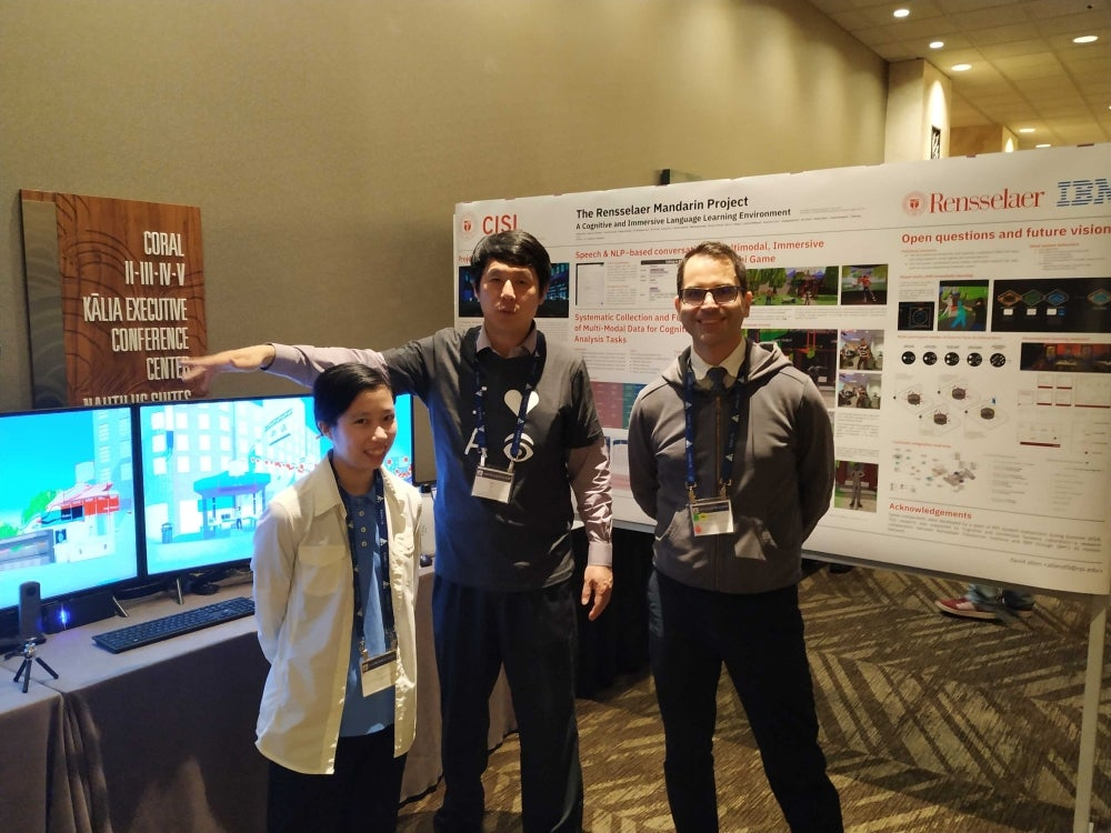 CISL Director Hui Su (center) and CISL Staff Members david allen (right) and Andrea Wong (left) at AAAI-19.