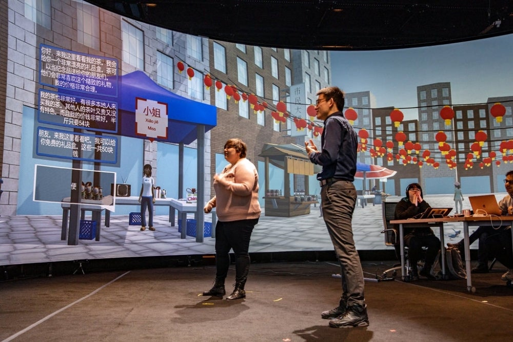 A simulated Beijing in an immersion lab at Rensselaer Polytechnic Institute in Troy, N.Y., where students can learn Mandarin Chinese.